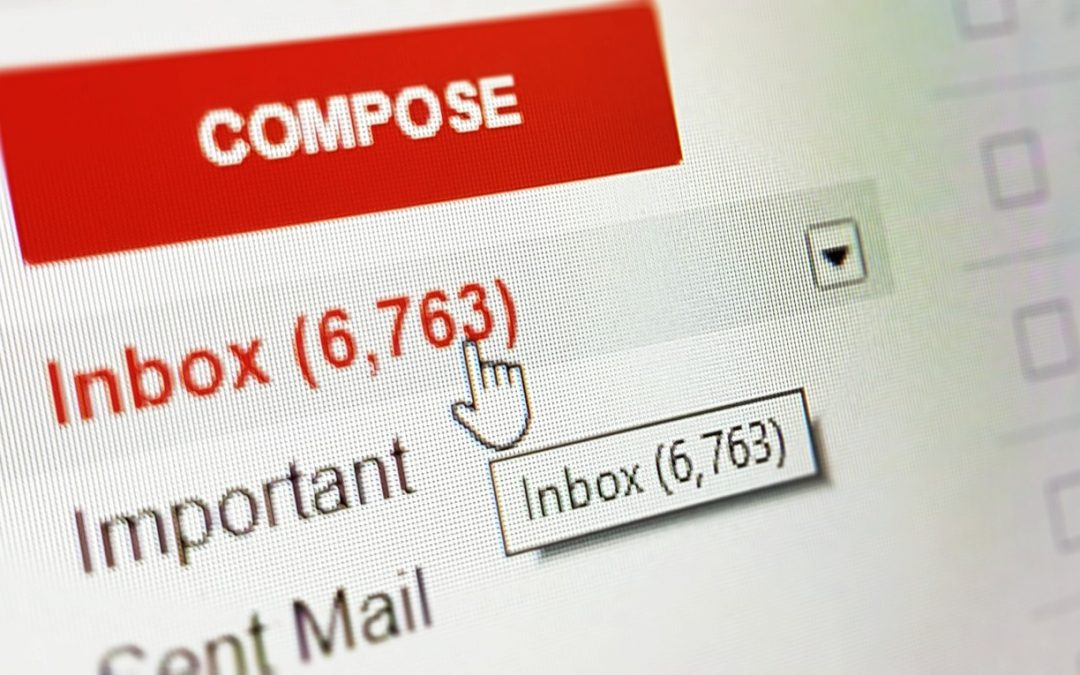 Computer screen indicating email inbox with 6,763 messages