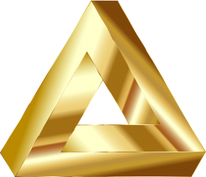 Penrose triangle optical illusion