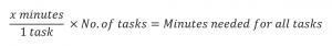 Mathematical equation. X minutes divided by 1 task multiplied by number of tasks equals minutes needed for all tasks.